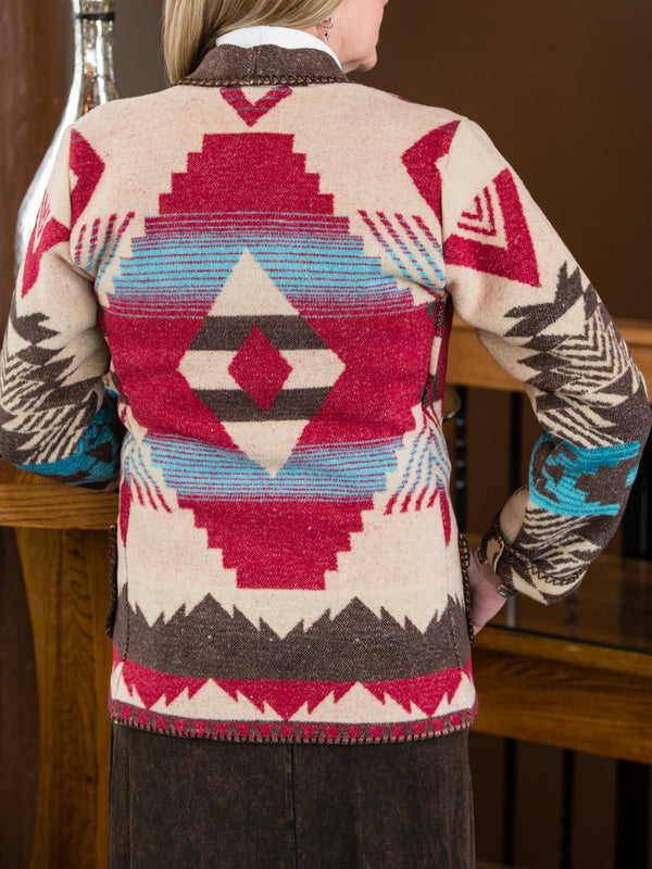 Wine Red Long Sleeve Knitted Geometric Outerwear
