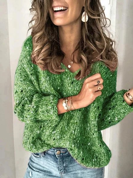 Mostata Plus Size Sweater For Women green V Neck Long Sleeve Sweaters