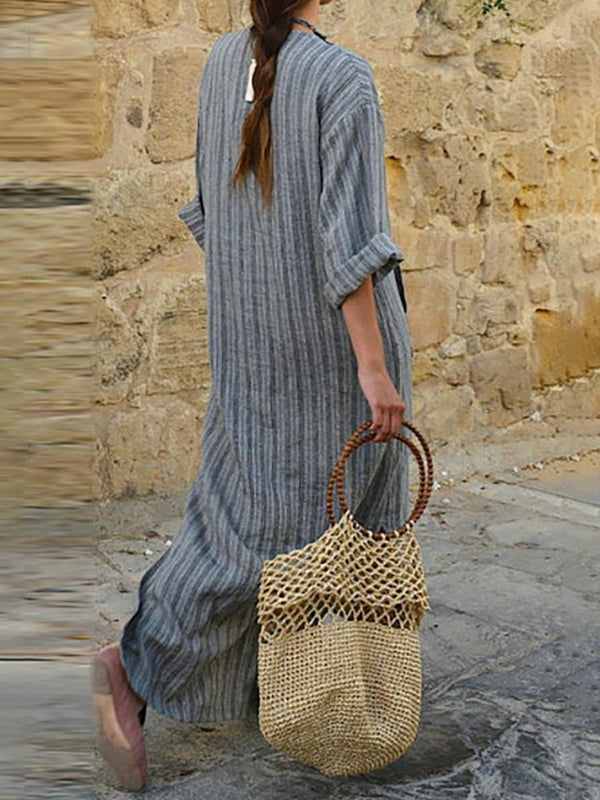Plain Ruffled Half Sleeve Casual Dress
