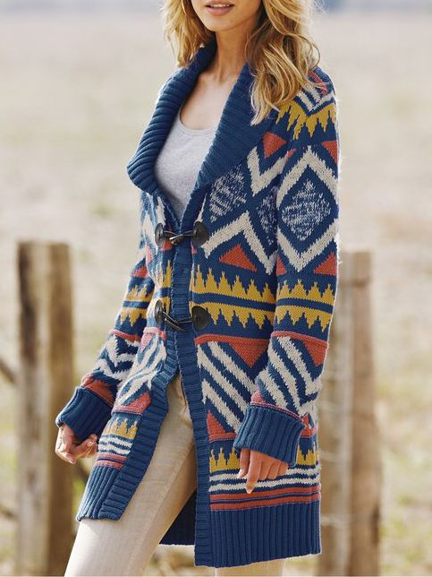 Blue Knitted Long Sleeve Outerwear