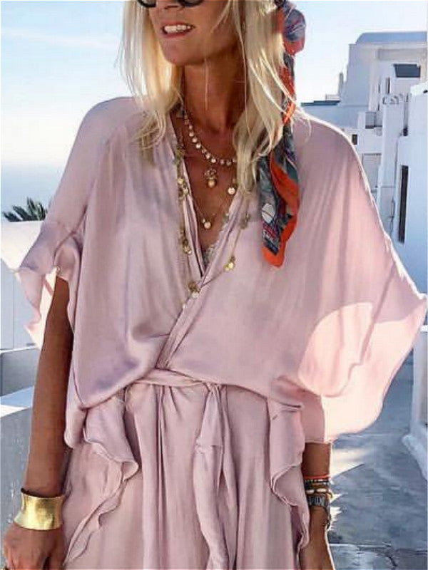 V neck Pink A-line Daily Slit Solid Dress