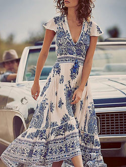 Blue V Neck Short Sleeve Paneled Floral Casual Dresses