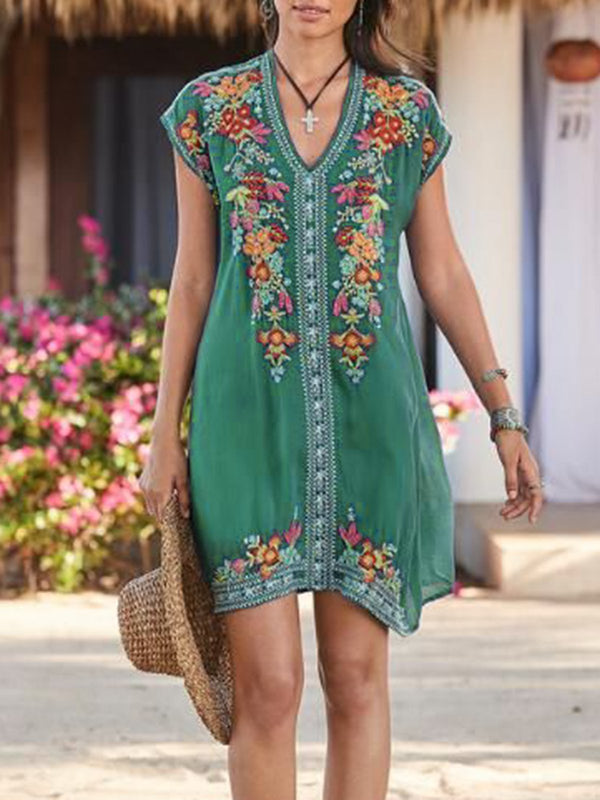 Mostata Women Summer  Short Sleeve Embroidered Shift Mexican Dresses