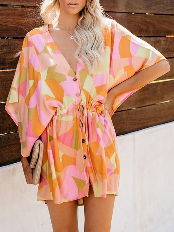 Orange V Neck Batwing Buttoned Abstract Dresses