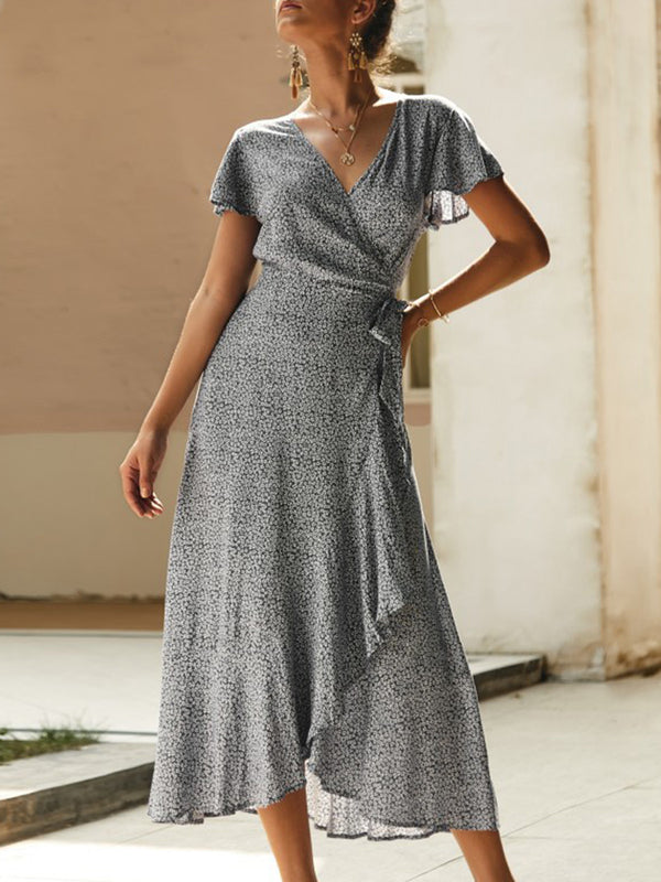 V Neck Daily Casual Holiday Midi Dress