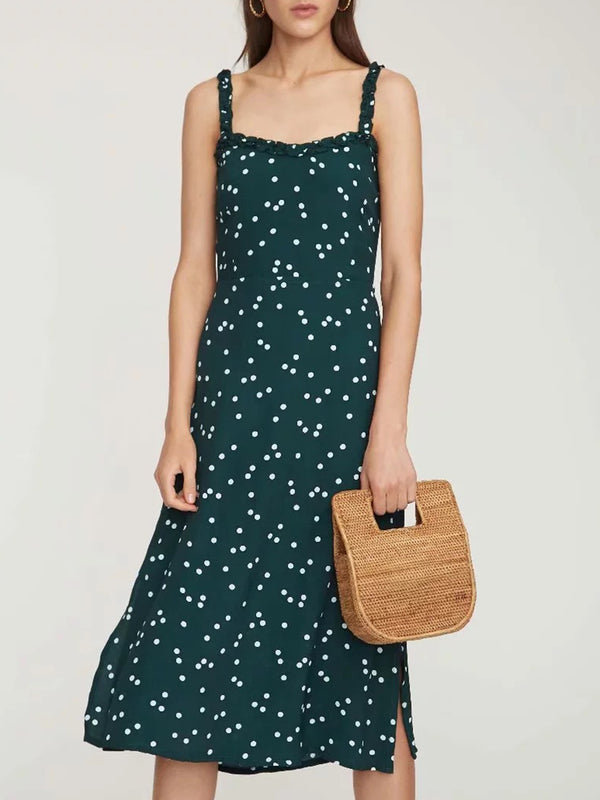 Green Spaghetti-Strap Backless Dresses