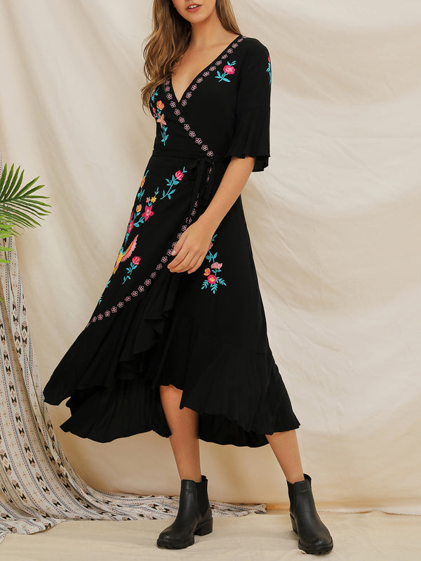 V Neck Summer Flounce Mexican Embroidered Maxi Dress