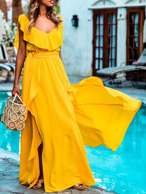 Yellow Frill Sleeve Swing Dresses