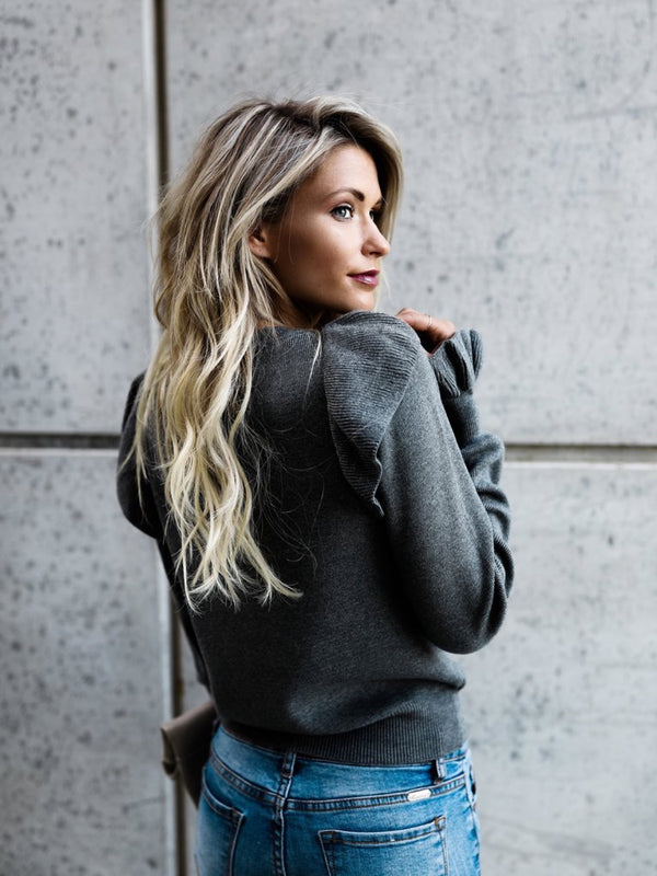 Solid Casual Long Sleeve Paneled Knitted Sweater