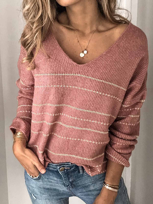 Mostata Plus Size V neck Striped Knitted Long Sleeve Sweaters For Women