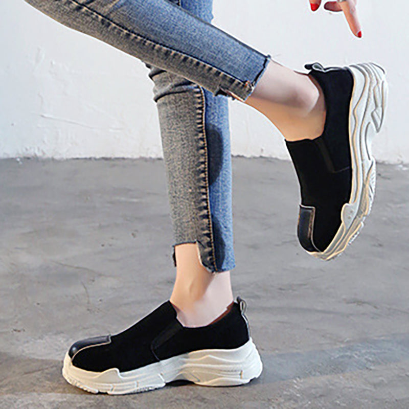 Women Round Toe Sneakers Casual Comfort Slip On Shoes