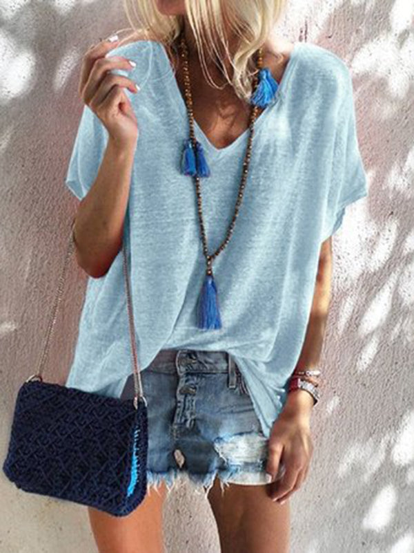 Casual Summer Multicolor V Neck Short Sleeve T-Shirts Tops