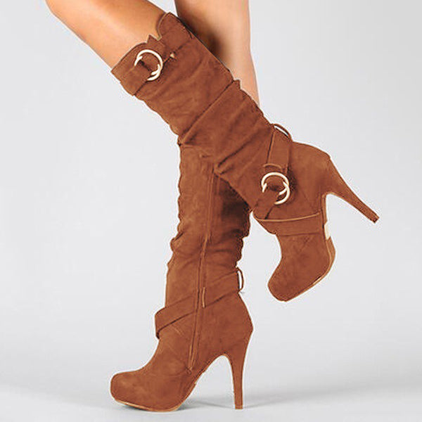 High Heel Artificial Suede Daily Boots