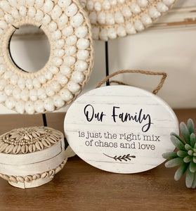 Hanging Wall Plaque - Our Family