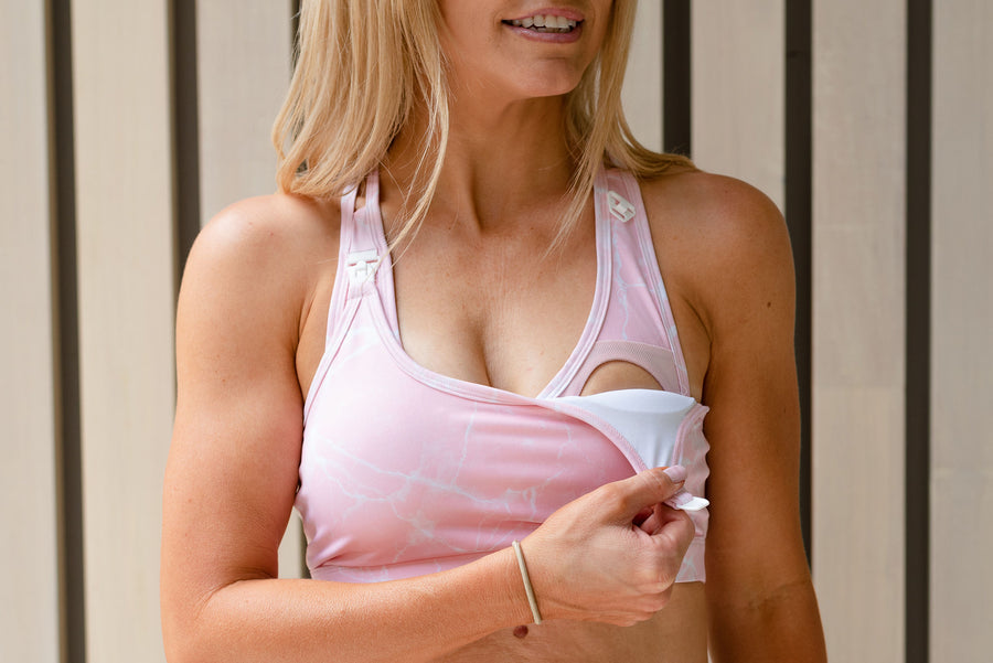 NURSING SPORTS BRA - ULTIMATE SUPPORT PINK MARBLE