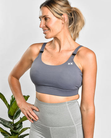 MAMA ESSENTIALS NURSING SPORTS BRA GUNMETAL GREY
