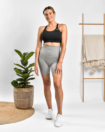 MAMA ESSENTIALS HIGH WAIST BIKE SHORT GREY