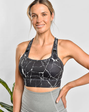 Nursing Sports Bra - HIGH VELOCITY Maximum Support - Black Marble