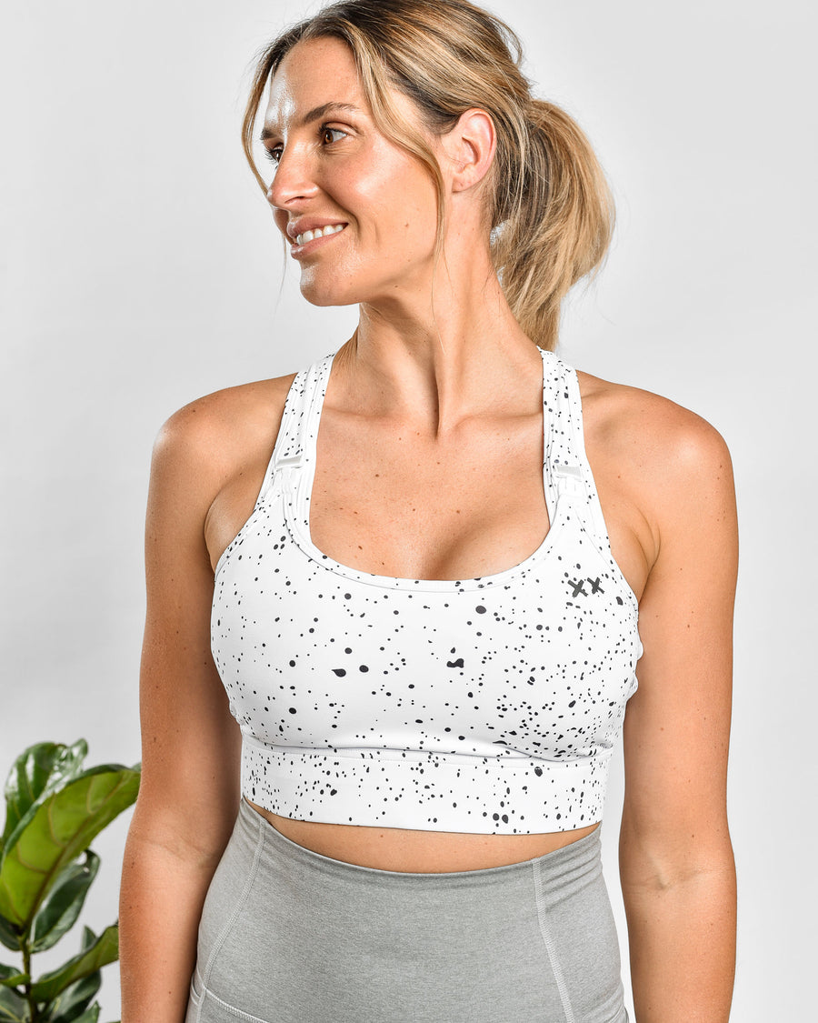 Nursing Sports Bra - HIGH VELOCITY Maximum Support - White Speckle
