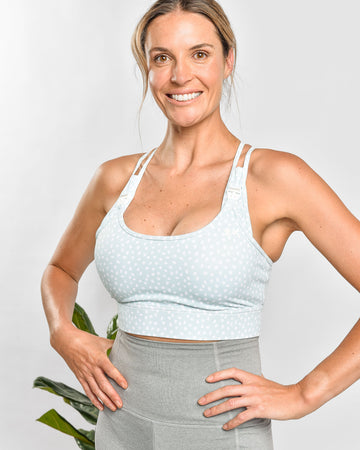 Nursing Sports Bra - ENERGISE Ultimate Support - Dotty Green