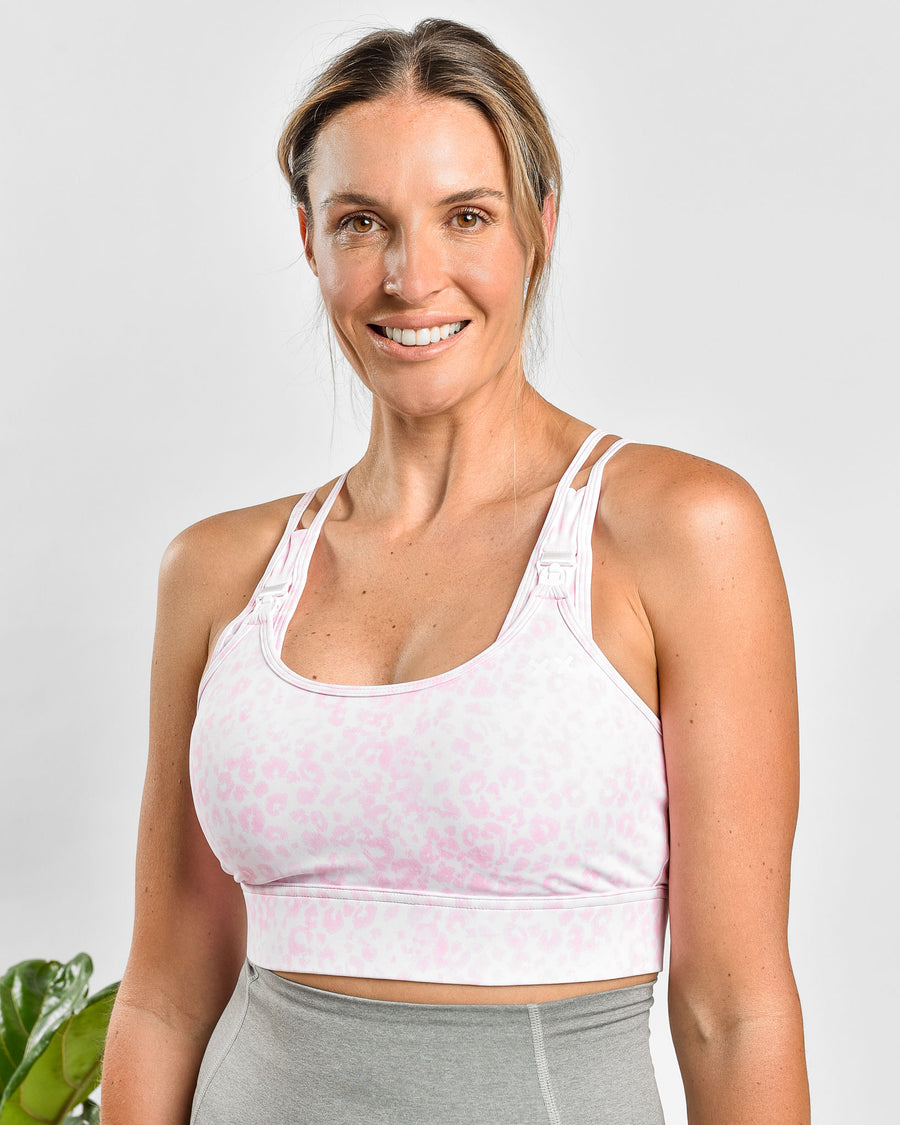 NURSING SPORTS BRA - ENERGISE ULTIMATE SUPPORT - PINK LEOPARD