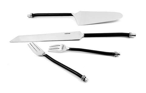 Cake Cutting & Serving Set with Forks (Black, Twisted Handle)