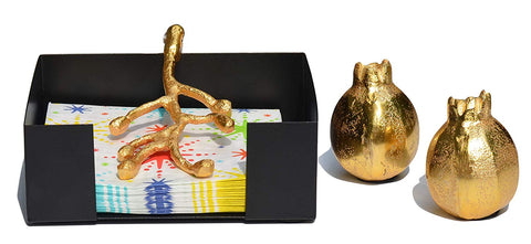 Unique Napkin Holder and Salt & Pepper Shakers Set (Golden) - Vibhsa