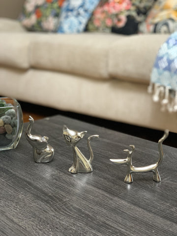 Vibhsa Dog Cat & Elephant Ring Holders Set - Silver