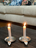 Vibhsa Taper Candlestick Holder Dish 2 Pack - Silver