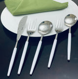 White & Silver Flatware Stainless Steel Set of 20