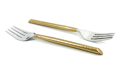 Vibhsa Golden Silverware Salad Forks set of 6