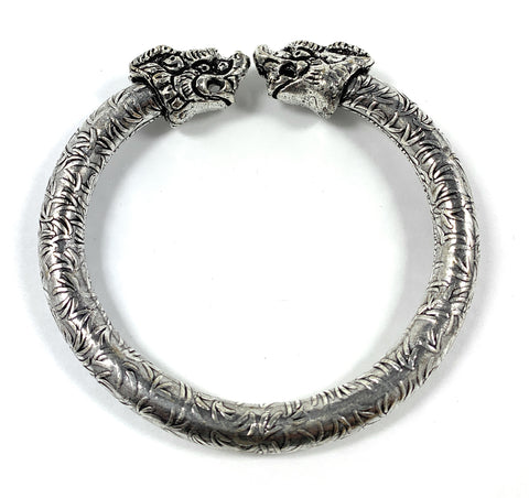 Antique Norse Bracelet With Lion Heads & Leaf Pattern