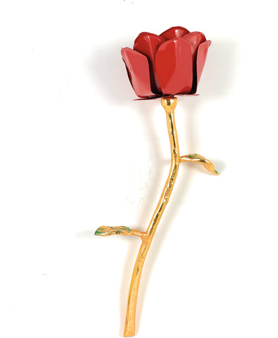 Handcrafted Red Rose Flower with Golden Finish Stem - Vibhsa