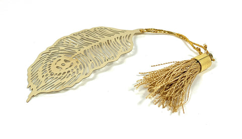 Feather Bookmark with Tassel Golden Finish Set of 4 - Vibhsa