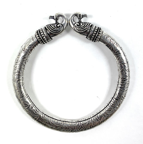 Antique Norse Peacock Head Viking Bracelet With Leaf Pattern - Vibhsa