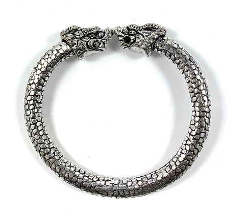 Antique Norse Viking Bracelet With Lion Heads & Snake Pattern - Vibhsa