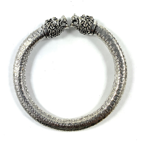 Antique Norse Bracelet With Lion Heads & Hexagon Pattern - Vibhsa