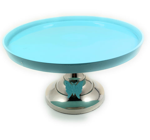 "Cake Turquoise Stand with Turquoise Butterfly (10"" Cake Holder) - Vibhsa"