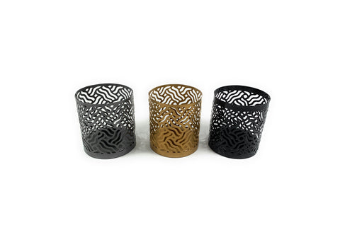 Votive Candle Holder Black, Grey & Golden - Vibhsa
