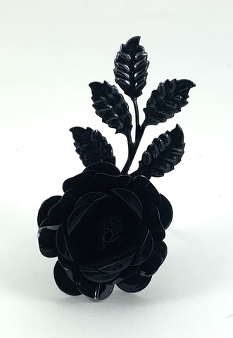 Vibhsa Black Rose Set of 4 Napkin Rings