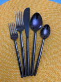 Stainless Steel Black Flatware set of 20 Pieces (Glossy Modern Finish)