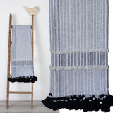 Hand loom Woven Textured Throw Black & Off White