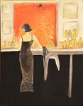 Set of Lady / Gentleman in Bar Original Oil Color Painting