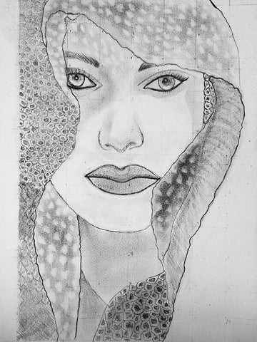 Reflection Original Charcoal Sketch Black & White - Vibhsa