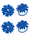 Vibhsa Blue Floral Set of 4 Napkin Rings