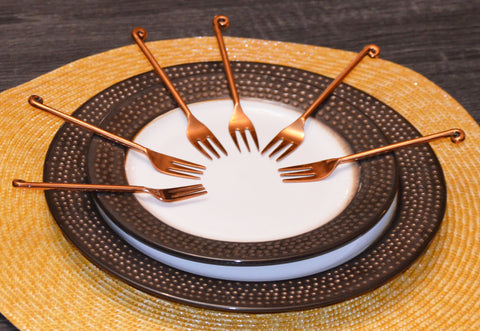 Vibhsa Copper Finish Appetizer Forks Set of 6