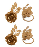 Golden Rose Flower Napkin Rings Set of 4 - Vibhsa