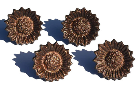 Vibhsa Decorative Sunflower Napkin Rings Set of 4 (Copper) - Vibhsa