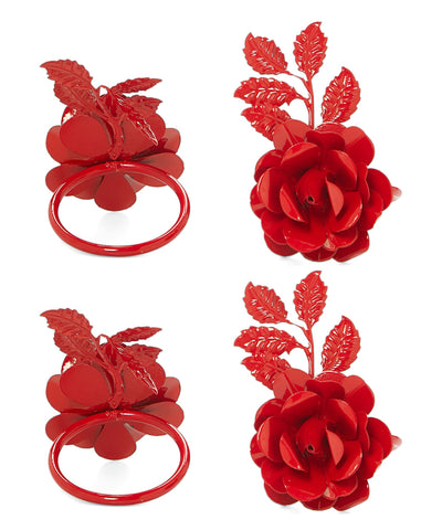 Napkin Rings Set of 4 (Red Rose) - Vibhsa