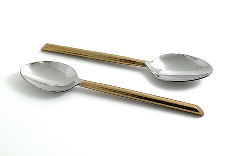 Golden Cut Hammered Tablespoons Set of 6 - Vibhsa